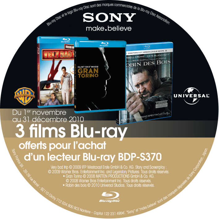 Lecteur Blu Ray Sony Bdp Sony Vous Offre 3 Blu Ray