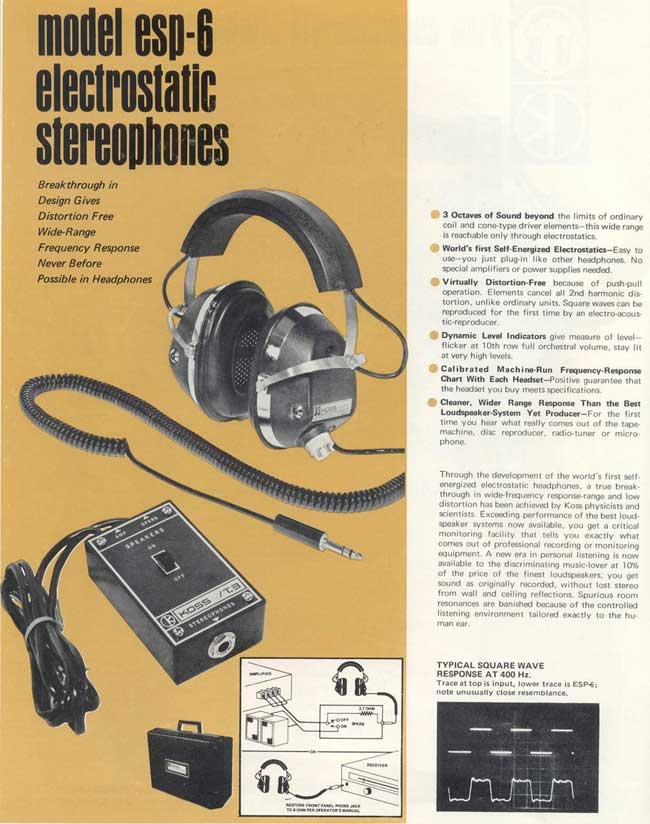 Affiche publicitaire pour le Koss ESP-6