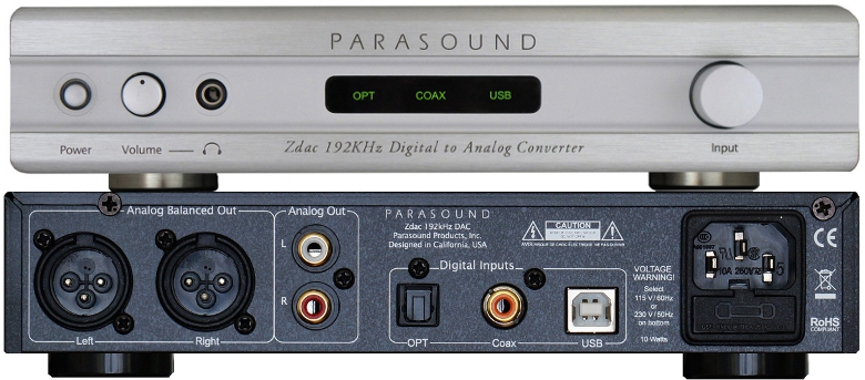 Parasound Zdac - face / connectique