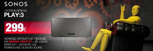 Offre de remboursement Sonos: 1 bridge offert pour l'achat d'un Play:3 !