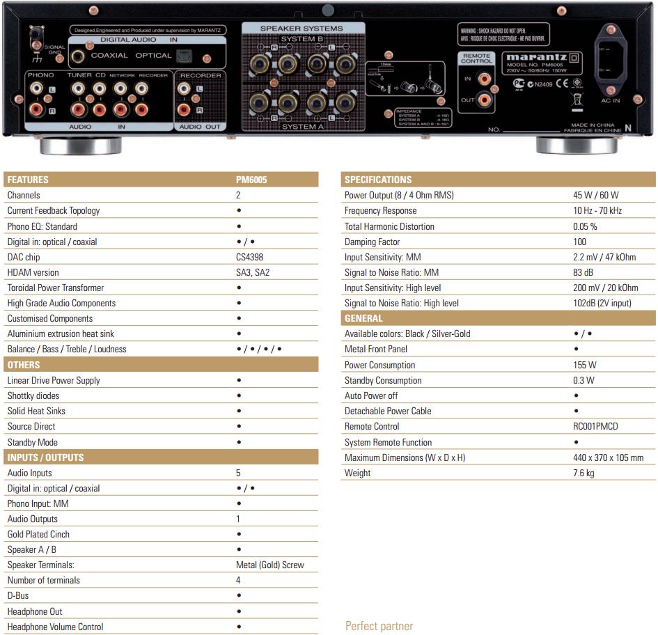 Marantz PM6005 : les caractéristiques techniques