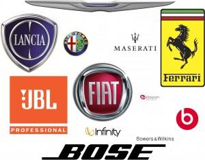 Fiat Alfa Lancia Ferrari Maserati Bose JBL Boston Beats B&W Infinity
