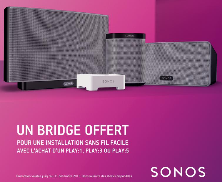 Offre Sonos : 1 bridge offert pour l'achat d'un Sonos Play:1, Play:3, ou Play:5