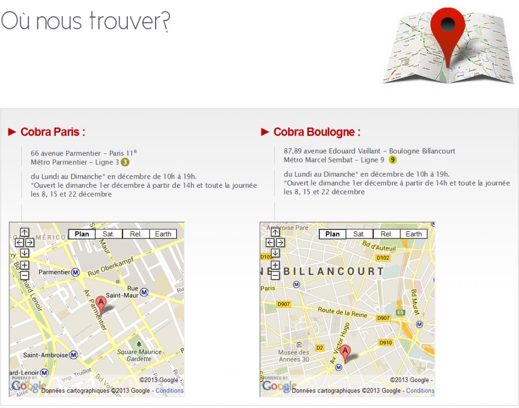 Plan d'accès de nos magasins de Boulogne et Paris