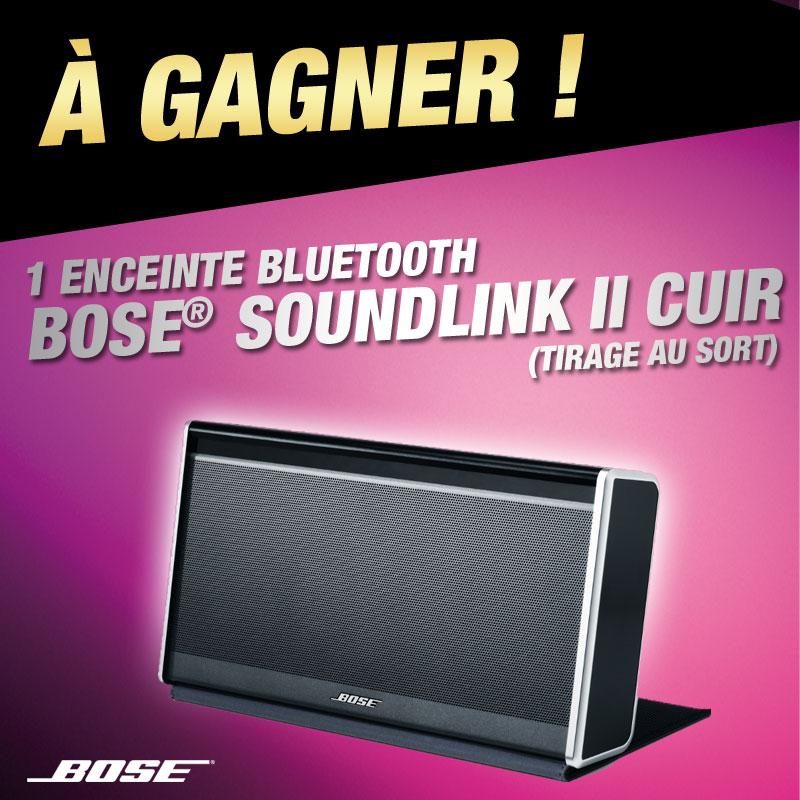 Une enceinte sans-fil Bose SoundLink II Cuir à gagner en participant à notre tirage au sort Facebook Janvier 2014