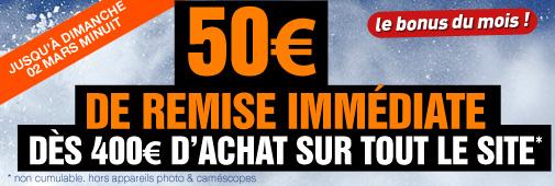 Coupon promo : 50€ de remise dès 400€ d'achat !