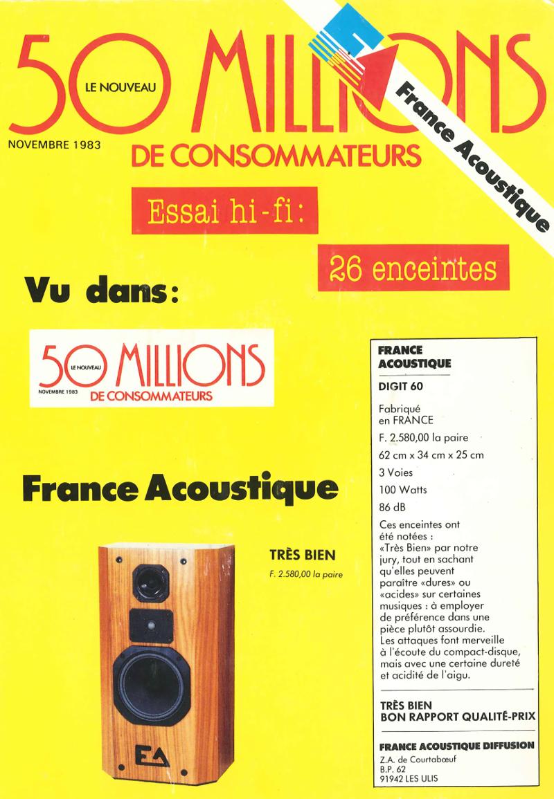 France Acoustique à la une de la revue 50 millions de consommateurs