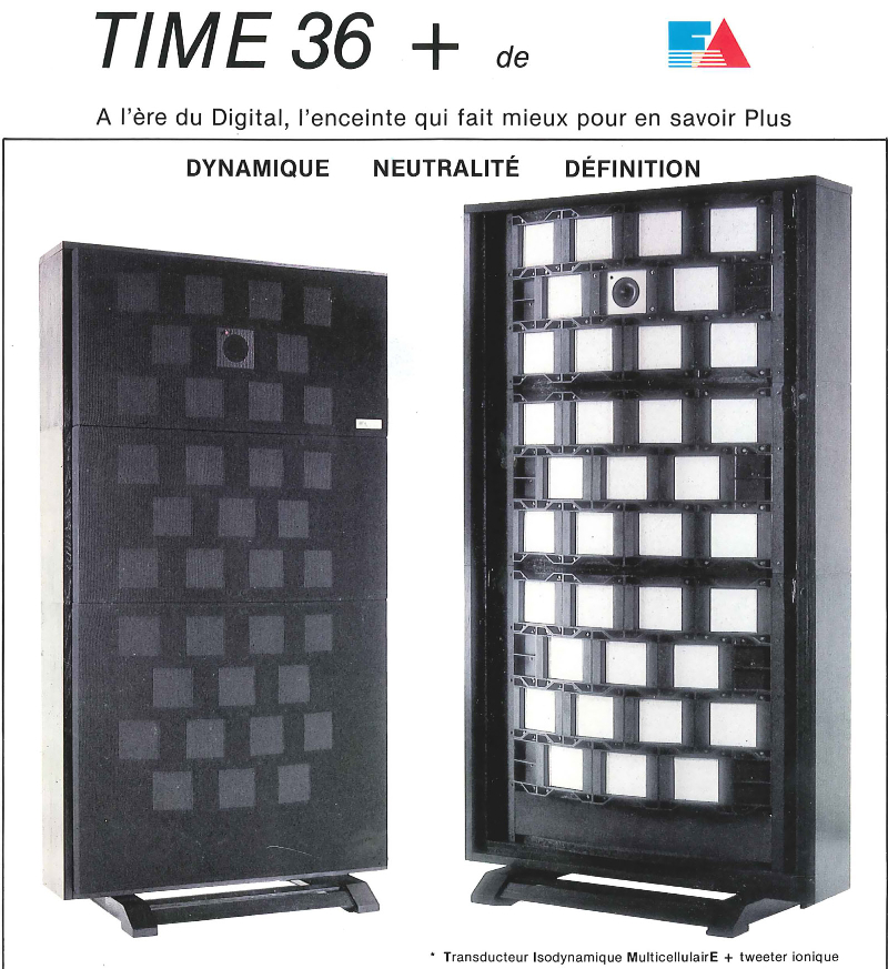 Enceinte France Acoustique Time 36 + : tweeter ionique et transducteur isodynamique multicellulaire !!!