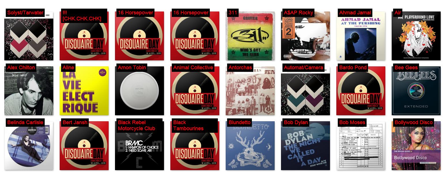 Quelques vinyles disponibles lors du Disquaire Day 2015