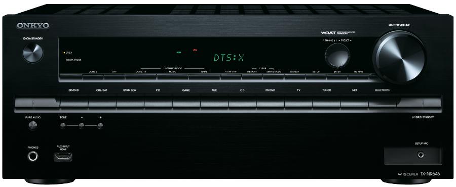 En façade, le Onkyo TX-NR646 est doté d'une entrée HDMI, et d'une sortie Casque