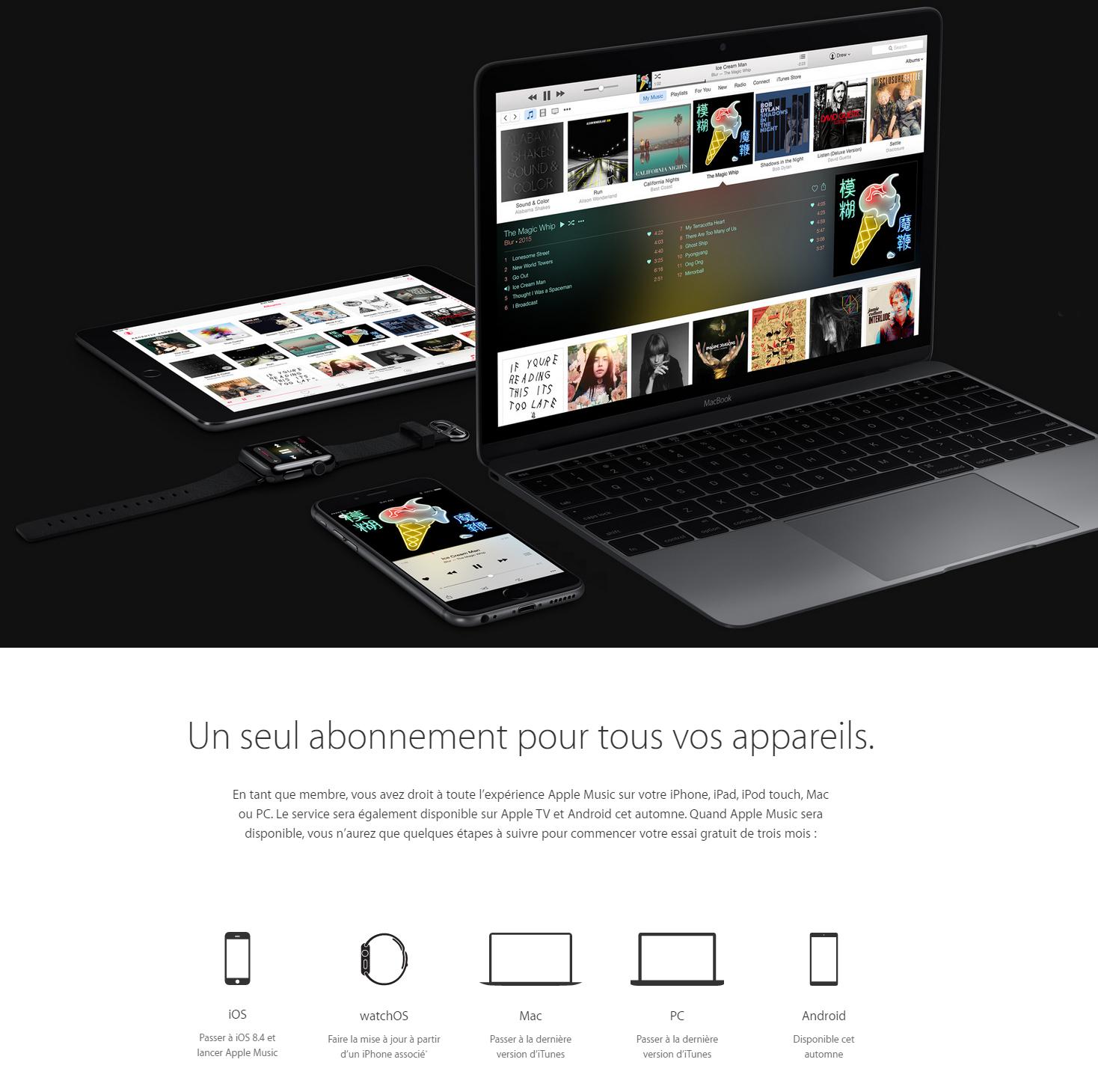 Apple Music - les appareils compatibles
