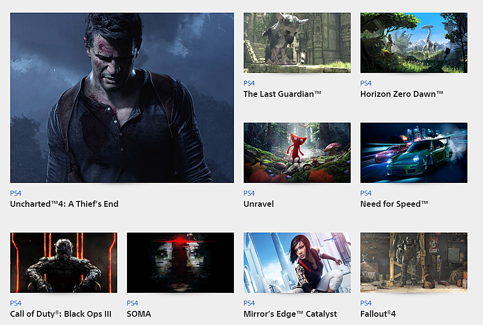 Sony E3 2015 : Game list