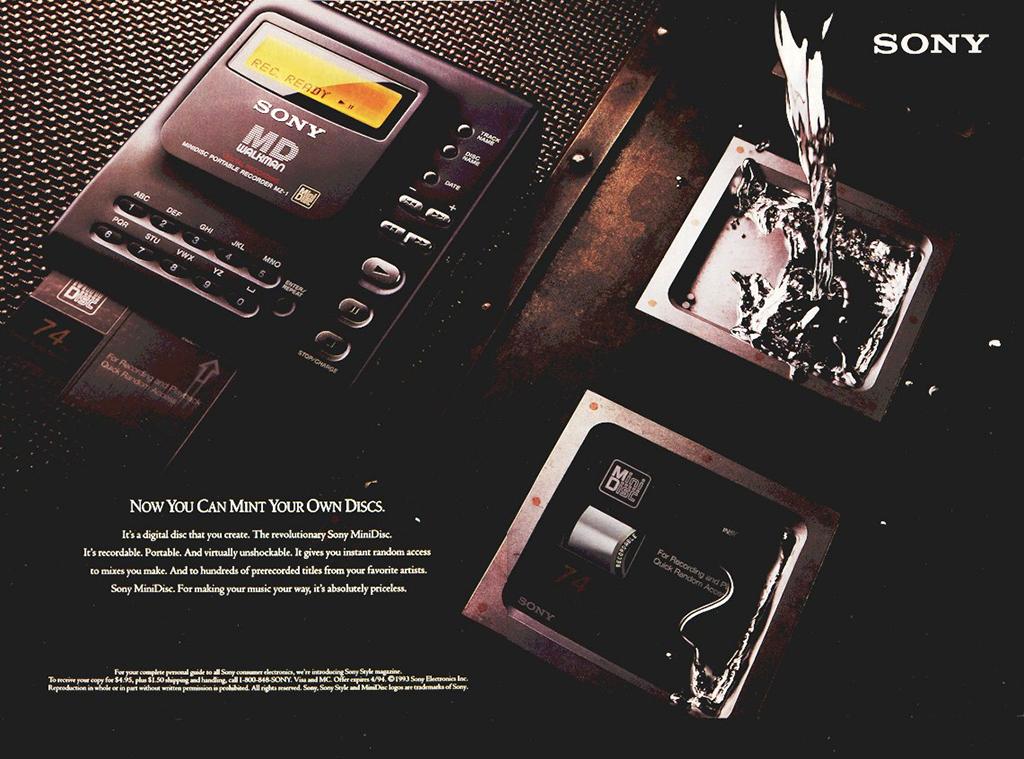 Le premier lecteur minidisque Sony MZ-1 MD Walkman (1992)