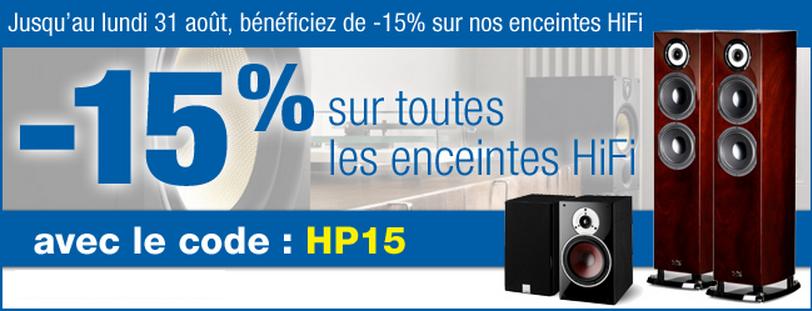 -15% sur toutes les enceintes Hi-Fi jusqu'au 31 août