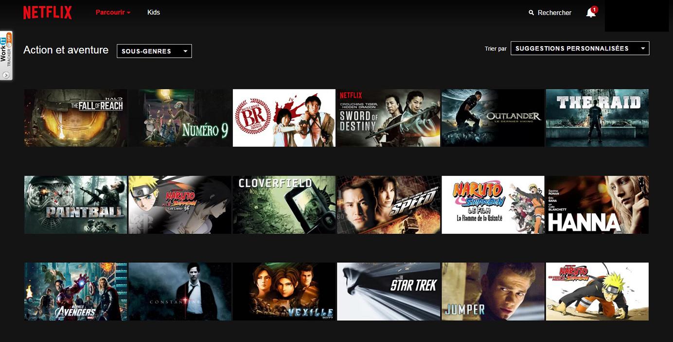 Netflix Page Sous-catégorie : Action et Aventure