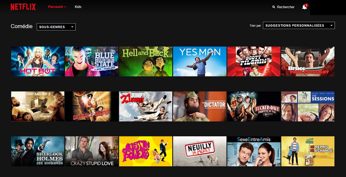 Netflix Page Sous-catégorie: Comédie