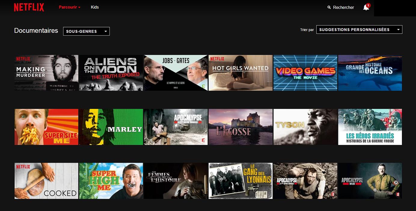 Netflix Page Sous-catégorie: Documentaires