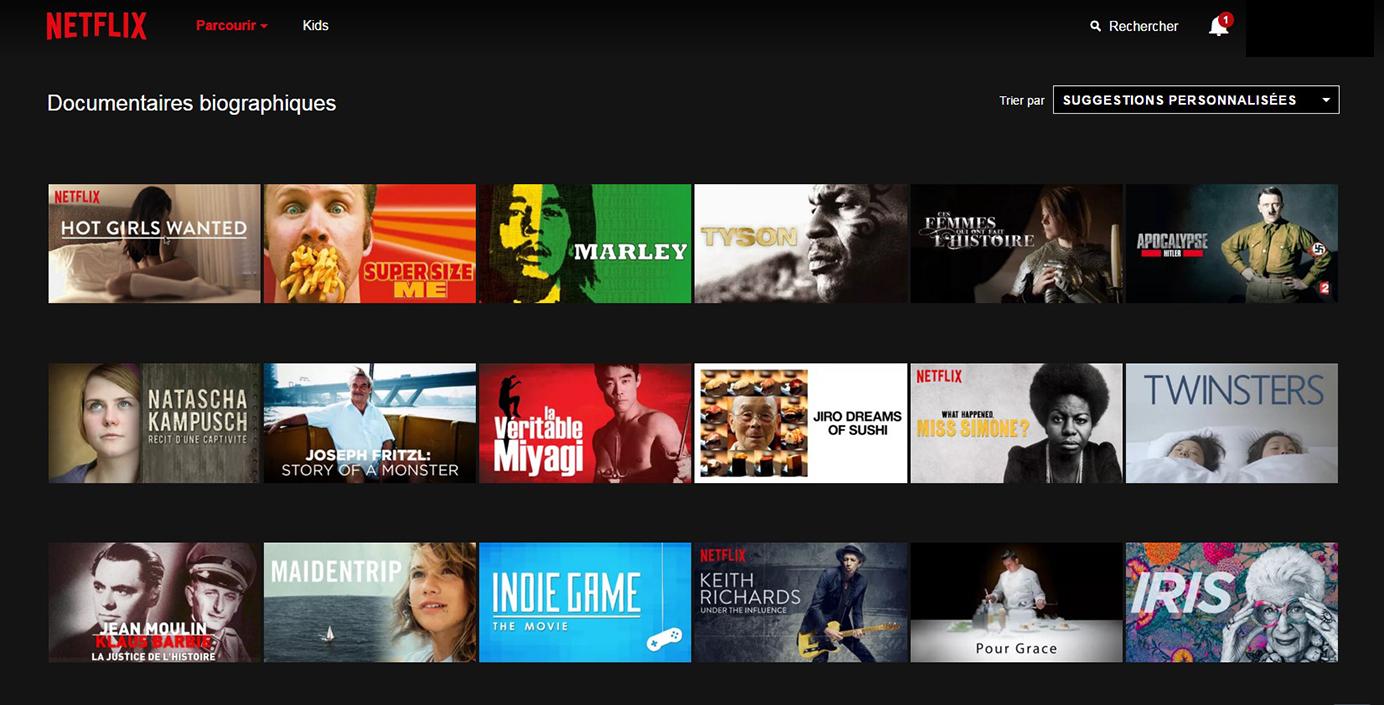 Netflix Page Sous-catégorie : Documentaires biographiques