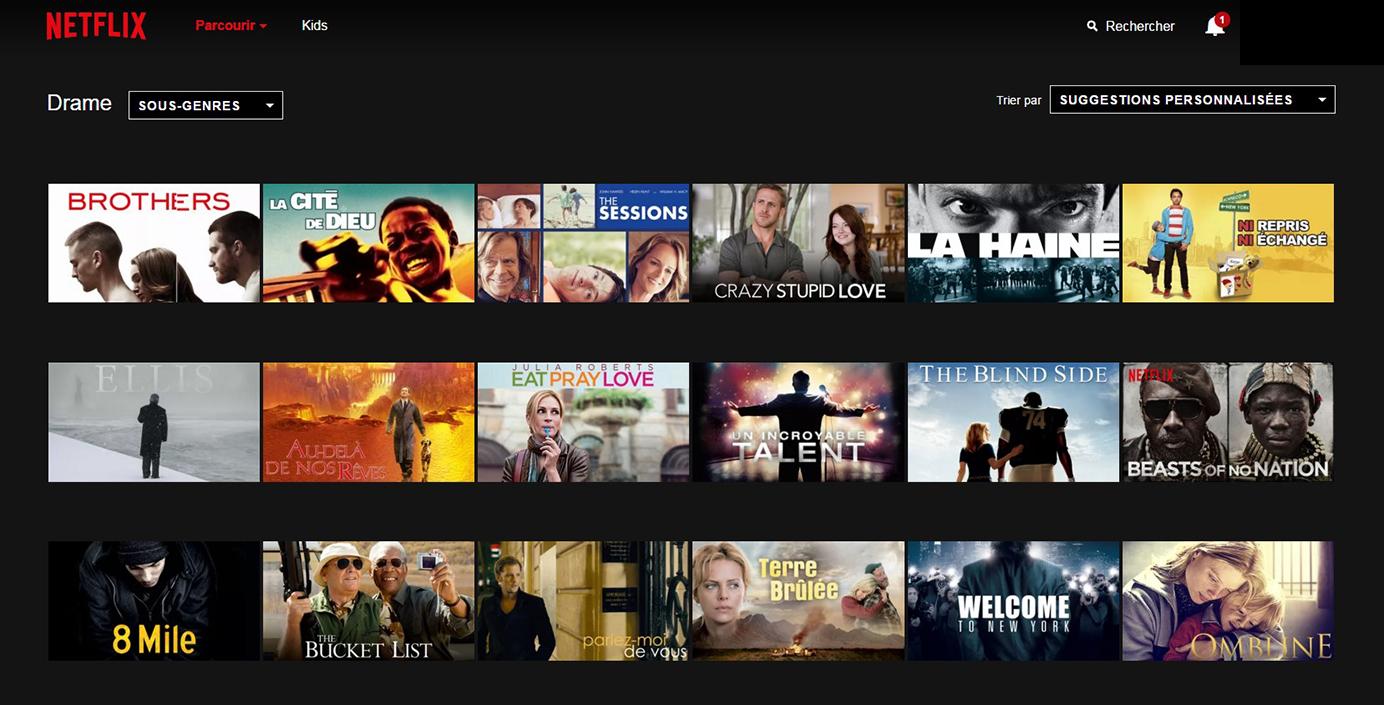 Netflix Page Sous-catégorie : Drame