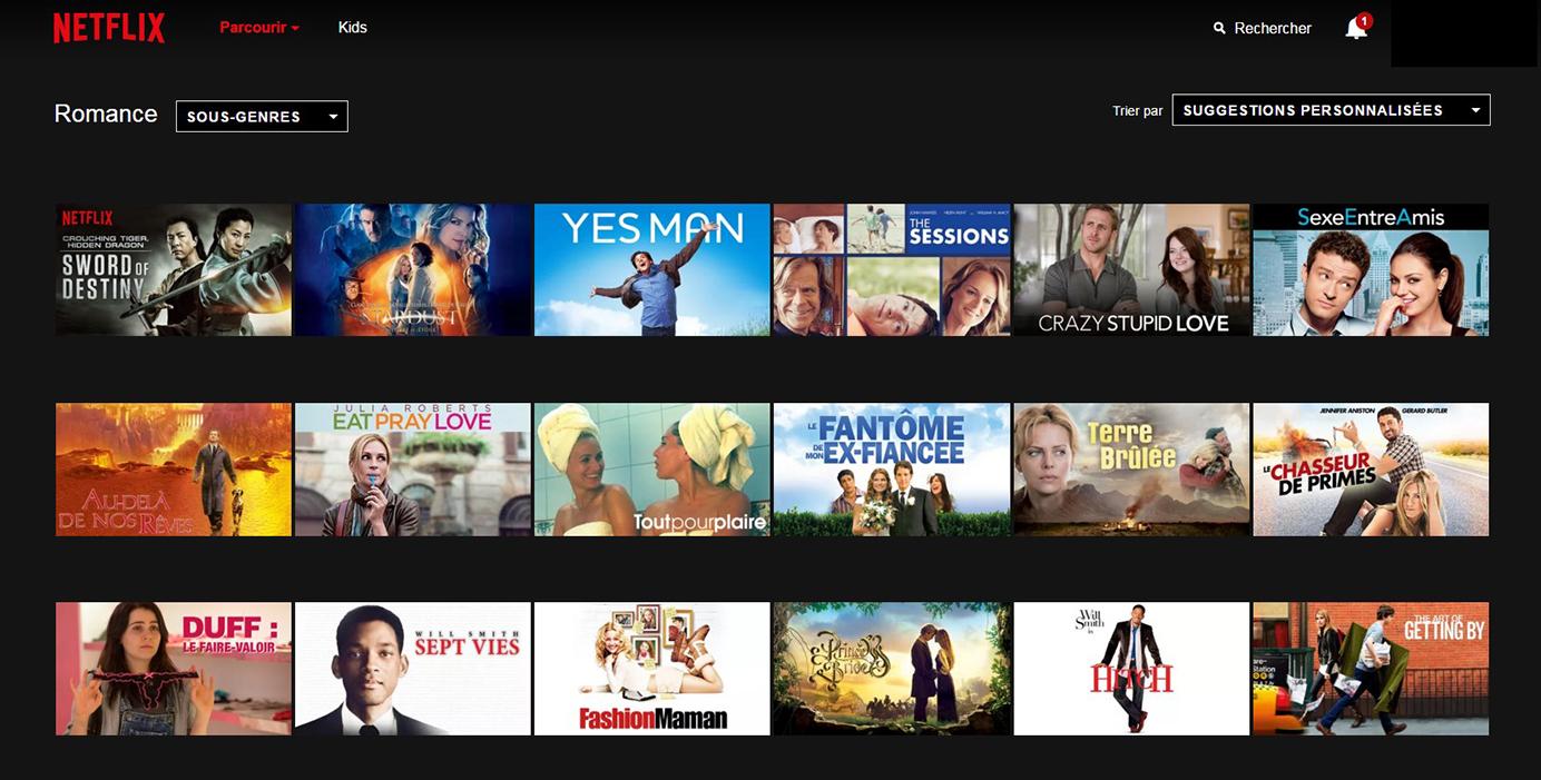 Netflix Page Sous-catégorie : Romance