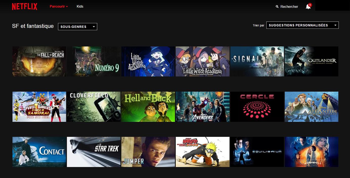 Netflix Page Sous-catégorie : SF et fantastique