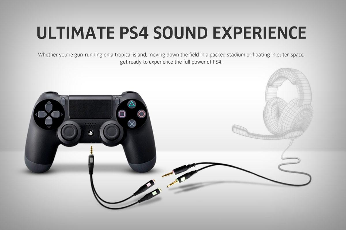 Branchement du casque gaming Sennheiser G4me sur la manette Sony Dualshchock 4 PS4 grâce à l'adaptateur combo Sennheiser PCV 05