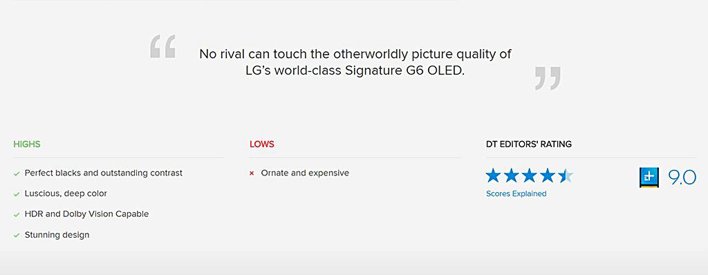 """Conclusion du test du site """"Digital Trends"""" sur le LG OLED 4K Signature G6"""