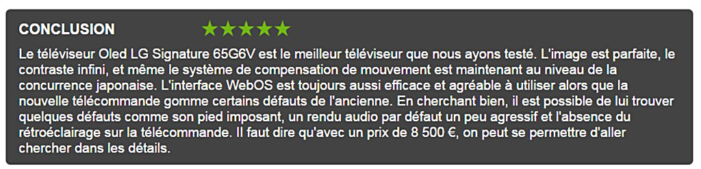 """Conclusion du test du site """"Les Numériques"""" sur le LG OLED 4K Signature G6"""