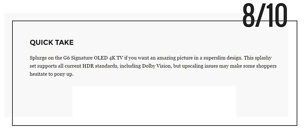 """Conclusion du test du site """"Tom's Guide"""" sur le LG OLED 4K Signature G6"""