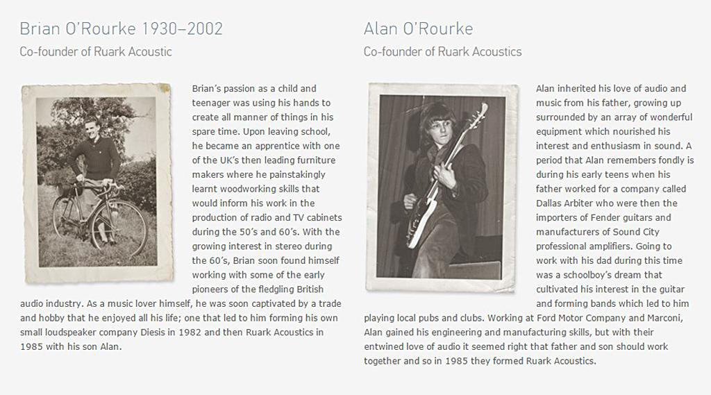Bios de Brian O'Rourke et Alan O'Rourke - Co-fondateurs de Ruark Acoustics (Sources : Ruark Audio)