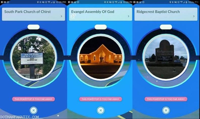 Eglises Pokémon Go