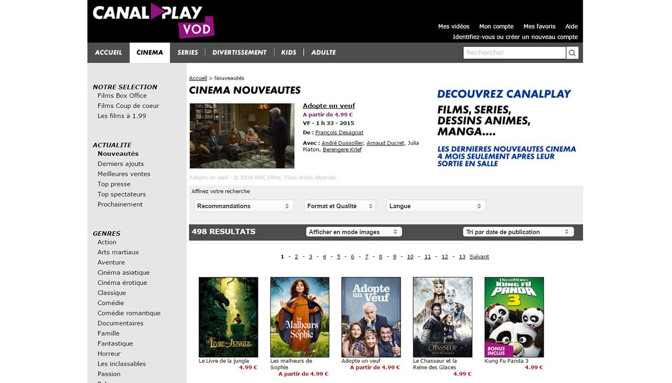CanalPlay VOD - Section Cinéma