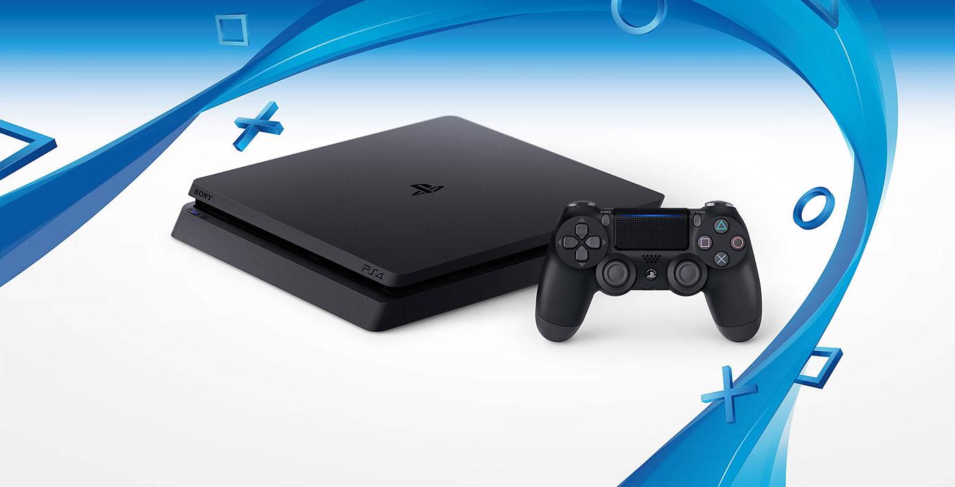"Nouvelle Sony PS4 ""Slim"" avec DUALSHOCK 4 (Front side)"