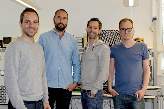 Les fondateurs d'Earin®, de gauche à droite : Olle Lindén, Kiril Trajkovski, Per Sennstrom et Carl Stahl