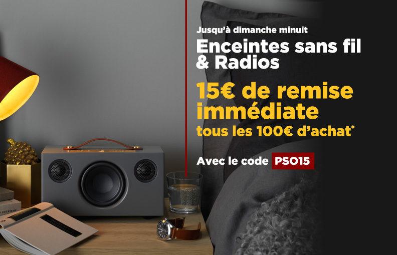 Profitez d'une remise de 15€ tous les 100€ d'achat avec le code PSO15