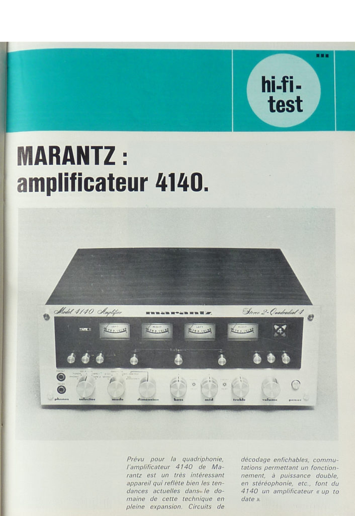 Article d'un magazine vintage sur un amplificateur quadriphonique