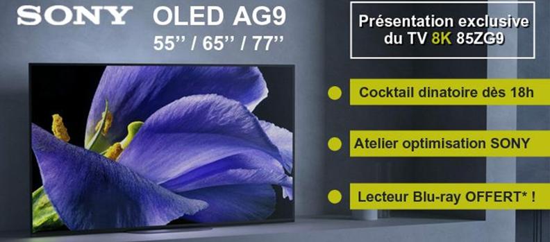 Invitation à la soirée de lancement des TV OLED Sony AG9 et ZG9