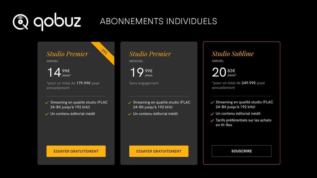 Les différentes formules d'abonnements à Qobuz